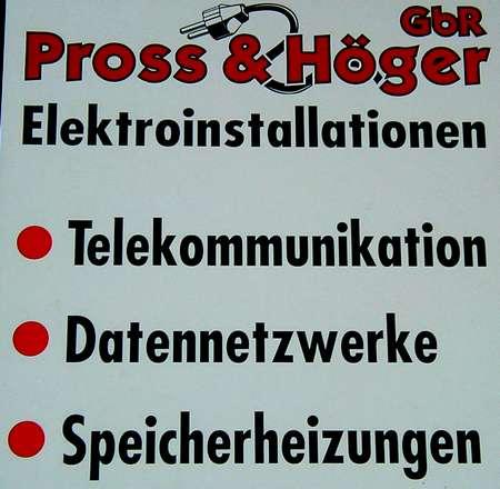 Pross und Höger GbR Elektroinstallationen - Telekommunikation - Datennetzwerke - Speicherheizungen