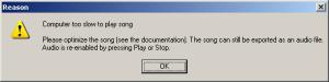 Der kompjuter ist zu langsam, um die musik abzuspielen...
