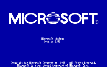 Microsoft Windows Version 1.01 Copyright (c) Microsoft Corporation, 1985. All Rights Reserved. Microsoft is a registered trademark of Microsoft Corp.