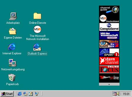 Windows 98 mit channel-leiste und active desktop...