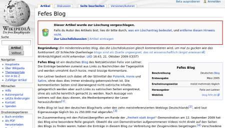 Fefes blog bei der deutschsprachigen wikipedia, gleich mit der kennzeichnung als löschkandidat