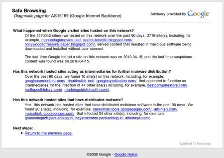 Google Internet Backbone verbreitet Schadsoftwäjhr