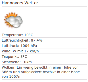 Hannovers Wetter. 10°C, 84% Luftfeuchte, brrr!