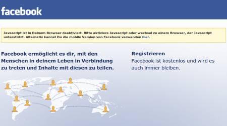 Facebook -- Javascript ist in Deinem Browser deaktiviert. Bitte aktiviere Javascript oder wechsel zu einem Browser, der JavaScript unterstützt. Alternativ kannst Du die mobile Version von Facebook verwenden