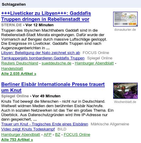 Zwei Schlagzeilen: Liveticker zu Libyen: Gaddafis Truppen dringen in Rebellenstadt vor -- Berliner Eisbär: Internationale Presse trauert um Knut