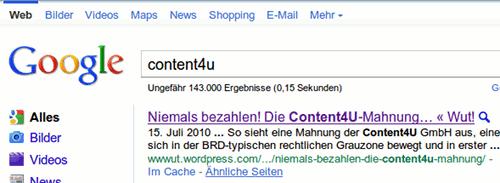 Posizjon eins im guhgell-suchergebnis für content4u ist der artikel auf wut