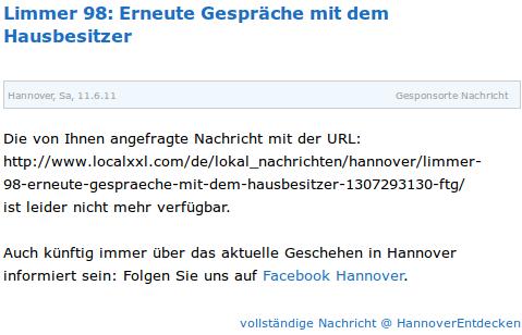 Limmer 98: Erneute Gespräche mit dem Hausbesitzer -- Hannover, Sa, 11.6.11 -- Gesponsorte Nachricht -- Die von Ihnen angefragte Nachricht mit der URL: http://www.localxxl.com/de/lokal_nachrichten/hannover/limmer-98-erneute-gespraeche-mit-dem-hausbesitzer-1307293130-ftg/ ist leider nicht mehr verfügbar. -- Auch künftig immer über das aktuelle Geschehen in Hannover informiert sein: Folgen Sie uns auf Facebook Hannover.