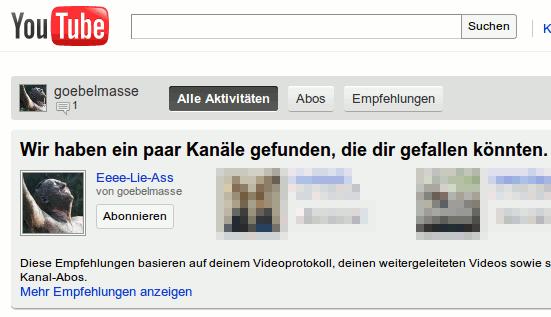 YouTube empfiehlt mir meinen eigenen kanal