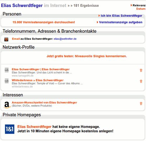 Bildschirmfoto der SEO-spämmsau yasni.de