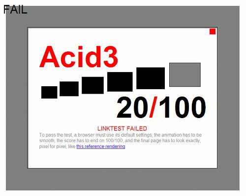 Acid 3 beim IE 8, 20/100, diverse Fehler