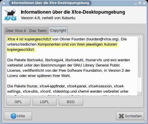 Xfce 4 ist kopiergeschützt von Olivier Fourdan. Die unterschiedlichen Komponenten sind von ihren jeweiligen Autoren kopiergeschützt.