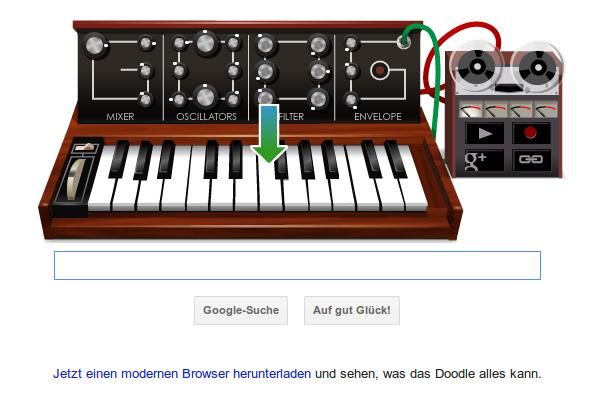 Google-Doodle mit Reklametext: Jetzt einen modernen Browser runterladen und sehen, was das Doodle alles kann.