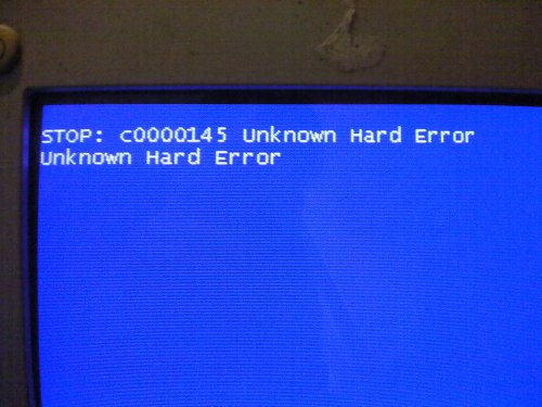 STOP: c0000145 Unknown Hard Error Unknown Hard Error