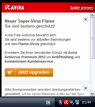 Screenshot Avira-Eigenreklame