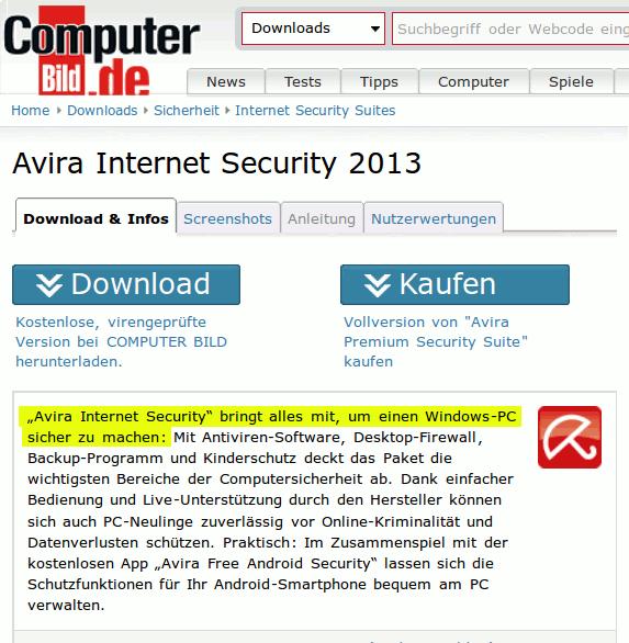 Computer Bild: Avira Internet Security bringt alles mit, um einen Windows-PC sicher zu machen