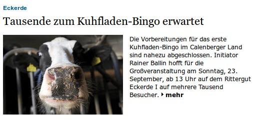 Tausende zum Kuhfladen-Bingo erwartet