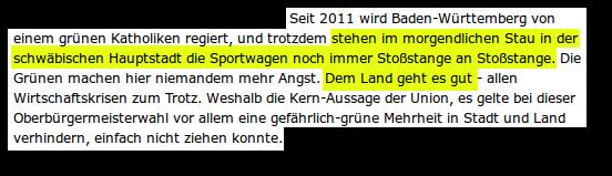 ...stehen im morgendlichen Stau in der schwäbischen Hauptstadt die Sportwagen noch immer Stoßstange an Stoßstange. ... Dem Land geht es gut