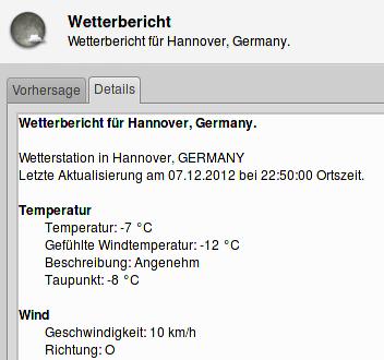 Bildschirmfoto meiner wetteranwendung, -7°C bei ostwind, gefühlt -12°C sollen angenehmes wetter sein