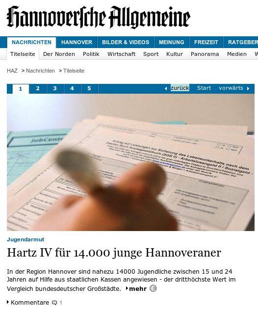 Hartz IV für 14.000 junge Hannoveraner