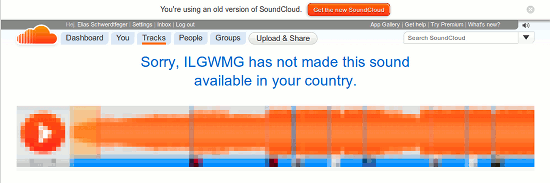 soundcloud-bildschirmfoto: sorry, ILGWMG has not made this sound available in your country.