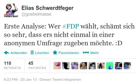 Erste Analyse: Wer #FDP wählt, schämt sich so sehr, dass ers nicht einmal in einer anonymen Umfrage zugeben möchte.