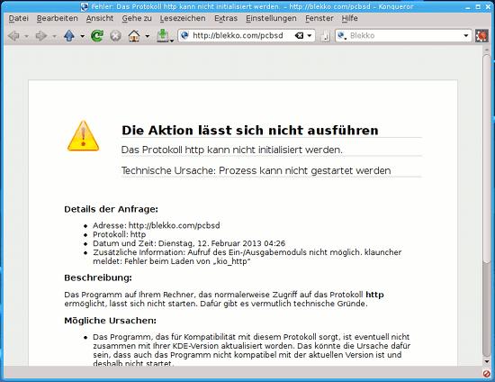 KDE-Brauser 'Konqueror' mit einer fehlermeldung: 'Die Aktion lässt sich nicht ausführen. Das Protokoll http kann nicht initialisiert werden. Technische Ursache: Prozess kann nicht gestartet werden.'