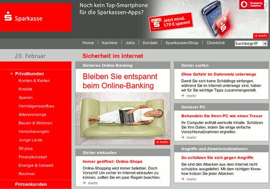 Screenshot der Seite Sicherheit im Internet auf sparkasse.de