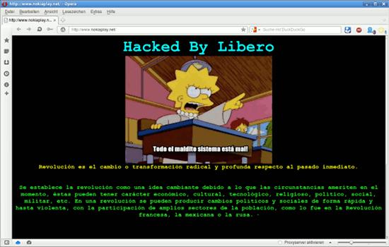 Bildschirmfoto der gehäckten webseit