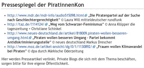 Pressespiegel der PiratinnenKon -- Hier werden Presseartikel verlinkt. Private Blogs die sich mit dem Thema beschäften, sorgen bitte für ihre eigene Öffentlichkeit