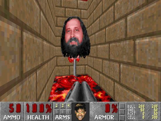 Richard Stallman, geköpft, zum endgegner von freedoom gemacht, muss besiegt werden, um die hölle von der erde zu vertreiben
