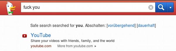 Bildschirmfoto der suchmaschine 'duckduckgo' mit suchbegriff 'fuck you' und dem ersten suchergebniss 'youtube'