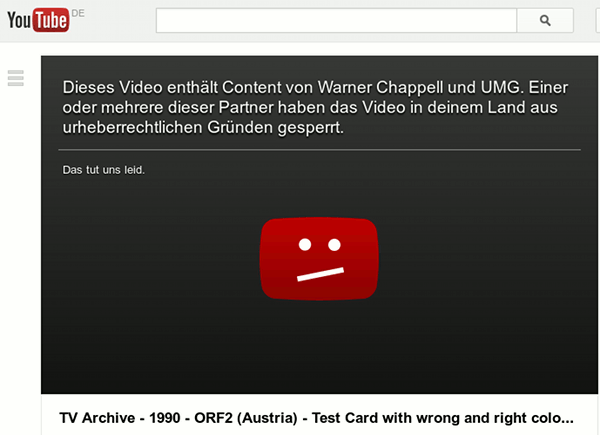 Bildschirmfoto von juhtjuhb: Dieses Video enthält Content von Warner Cappell und UMG. Einer oder mehrere dieser Partner haben das Video in deinem Land aus urheberrechtlichen Gründen gesperrt. Das tut uns leid.
