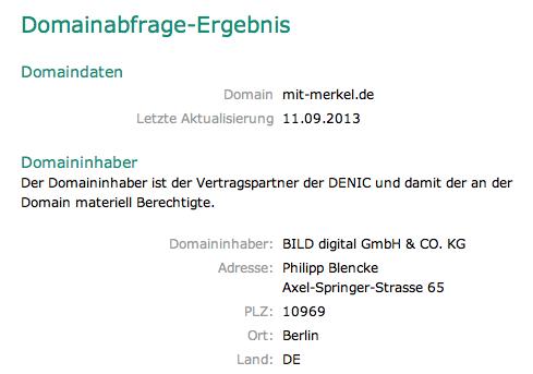 Domainabfrage mit-merkel.de / Domaininhaber: Bild Gmbh und Co. KG, Philipp Biencke, Axel-Springer-Straße 65, 10969 Berlin