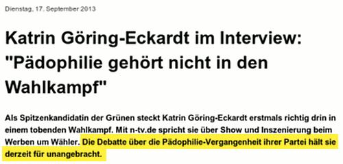 Katrin Göring-Eckardt im Interview: Pädophilie gehört nicht in den Wahlkampf -- Als Spitzenkandidatin der Grünen steckt Katrin Göring-Eckardt erstmals richtig drin in einem tobenden Wahlkampf. Mit n-tv.de spricht sie über Show und Inszenierung beim Werben um Wähler. Die Debatte über die Pädophilie-Vergangenheit ihrer Partei hält sie derzeit für unangebracht.