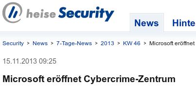 Bildschirmfoto Heise Security: Microsoft eröffnet Cybercrime-Zentrum