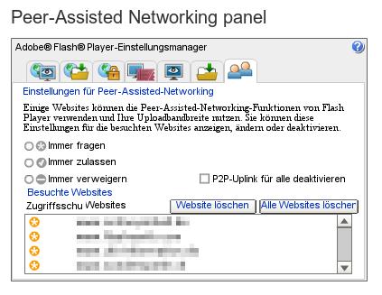 Bildschirmfoto 'peer-assisted networking panel' aus den einstellungen des 'flash-player' von adobe