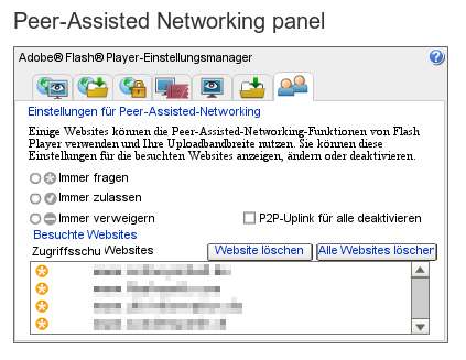 Bildschirmfoto 'peer-assisted networking panel' aus den einstellungen des 'flash-player' von adobe