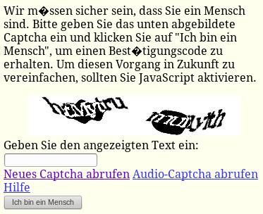 Bildschirmfoto eines unentzifferbaren captchas