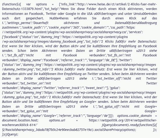 Bildschirmfoto eines endlosen javascript-matsches wegen ein paar buttons zum fratzenbuchen, twittern, pluseinsen und so weiter