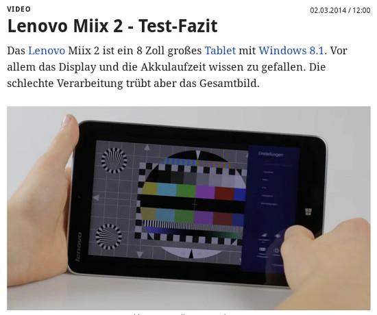 Bildschirmfoto von golem mit eingebettetem video vom test des 'lenovo miix 2', in dem das verwendete testbild sichtbar wird