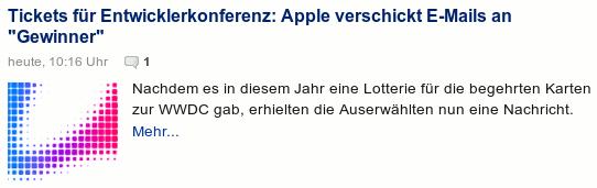 Schlagzeile aus heise online: Tickets für Entwicklerkonferenz: Apple verschickt E-Mails an 'Gewinner'