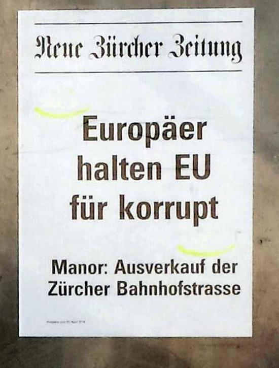 Neue Zürcher Zeitung: Europäer halten EU für korrupt