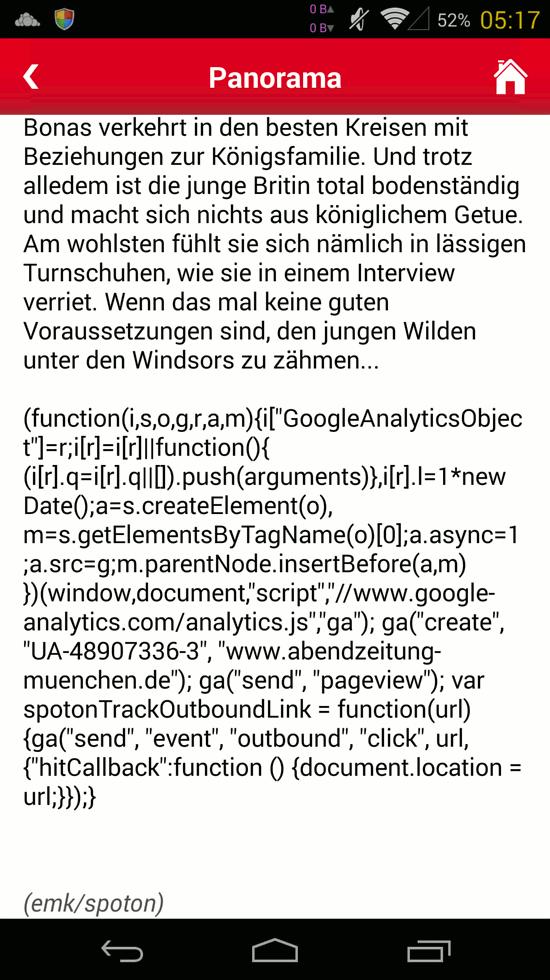 Bildschirmfoto mit javascript-kwelltexten unter dem artikel