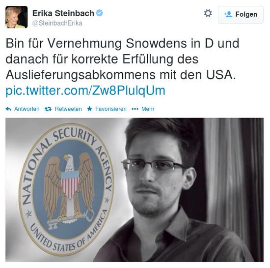 Zitat @SteinbachErika: 'Bin für Vernehmung Snowdens in D und danach für korrekte Erfüllung des Auslieferungsabkommens mit den USA.'