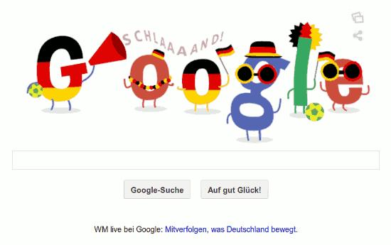 Google-Doodle zur FIFA-Fußball-WM. Das G in Schwarz-Rot-Gold schreit Schland durch eine Flüstertüte, die anderen Buchstaben sind als Fußballfans verkleidet.