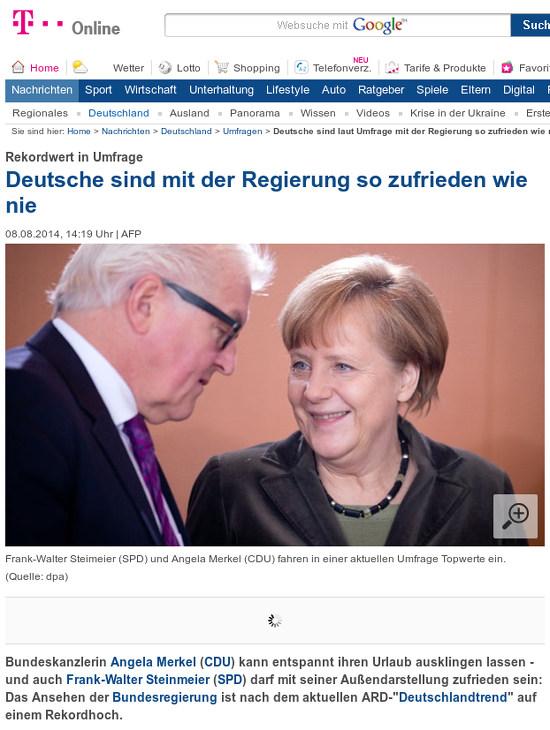 Bildschirmfoto t-onlein mit der meldung 'rekordwert in umfrage: deutsche sind mit der regierung so zufrieden wie nie'
