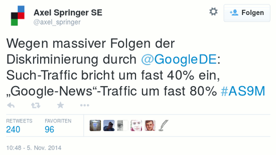 Tweet von @axel_springer vom 5. november 2014, 10:48 uhr: 'Wegen massiver Folgen der Diskriminierung durch @GoogleDE: Such-Traffic bricht um fast 40% ein, Google-News-Traffic um fast 80% #AS9M