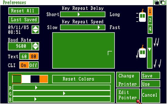 Bildschirmfoto des einstellungsdialoges von amiga OS, workbench 1.0 aus dem jahr 1984