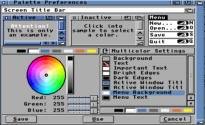 Bildschirmfoto der farbeinstellungen von amiga OS, workbench 3.x aus dem jahr 1992
