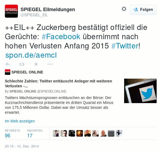 @SPIEGEL_EIL: ++EIL++ Zuckerberg bestätigt offiziell die Gerüchte: #Facebook übernimmt nach hohen Verlusten Anfang 2015 #Twitter! http://spon.de/aemcI